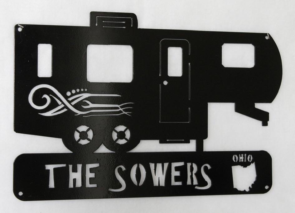 RV Travel Trailer Camper Sign Camping Camp Sign Personalized Plasma Metal Art